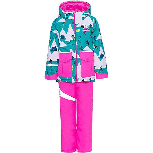 Комплект BOOM by Orby для девочкиВерхняя одежда<br>Характеристики товара:<br><br>• брюки до 122 роста идут с подтяжками, от 128 до 170 без подтяжек <br>• комплектация: куртка, полукомбинезон, очки<br>• состав ткани верха: таффета фактурная с мембранным покрытием<br>• подкладка: флис, ПЭ пуходержащий, поликоттон<br>• утеплитель: FiberSoft 300 г/м2<br>• отделка: искусственный мех - песец<br>• сезон: зима<br>• температурный режим: от -25 до -10 С<br>• особенности модели: с капюшоном, функциональность, грязеотталкивающая пропитка, износостойкость, простой уход за изделием<br>• водоотталкивающая способность: 3000 мм <br>• воздухопроницаемость: 3000 г/м <br>• застежка: молния <br>• светоотражающие детали <br>• страна бренда: Россия<br>• страна-изготовитель: Россия<br><br>Модный детский комплект включает в себя куртку, полукомбинезон и очки для катания на лыжах. Материал комплекта для детей отличается высокой износостойкостью, способностью пропускать воздух, задерживая влагу, и легкостью очистки. Такой комплект для ребенка дополнен удобными вместительными карманами, украшен тематическим принтом. Детская одежда от популярного бренда BOOM by Orby создается с учетом потребностей ребенка, она модно выглядит и удобно сидит.