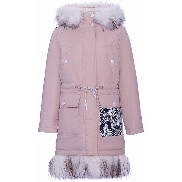 Пальто BOOM by Orby для девочкиВерхняя одежда<br>Характеристики товара:<br><br>• цвет: бежевый<br>• состав ткани верха: таффета pu milky<br>• подкладка: флис, ПЭ пуходержащий<br>• утеплитель: Flexy Fiber 400 г/м2<br>• отделка: искусственный мех - песец<br>• сезон: зима <br>• температурный режим: от -20 до-5 <br>• особенности модели: с капюшоном, ветрозащитная планка<br>• застежка: молния <br>• страна бренда: Россия<br>• страна-изготовитель: Россия<br><br>Модное пальто для детей отличается необычными деталями декора - карманом из принтованного материла и опушкой низа изделия. Детское пальто дополнено планкой от ветра - так обеспечивается дополнительное препятствие для холодного воздуха. Такое пальто для ребенка - удлиненного силуэта, ниже колен, что очень актуально в наступающем сезоне. Детская одежда от популярного бренда BOOM by Orby создается с учетом потребностей ребенка, она модно выглядит и удобно сидит.