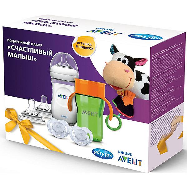 Набор Philips Avent «Счастливый малыш»Поильники<br>Характеристики товара:<br><br>• возраст: с рождения<br>• материал: силикон, пластик, полипропилен<br>• в комплекте: бутылочка, 2 соски Natural, 2 соски-пустышки Classic, чашка-поильник, игрушка-подвеска «Корова»<br>• объем поильника: 340 мл<br>• объем бутылочки: 260 мл<br>• размер упаковки: 30х23,5х9,5 см<br>• вес упаковки: 605 гр.<br><br>Набор Philips Avent «Счастливый малыш» включает в себя набор аксессуаров по уходу за ребенком. <br><br>Бутылочка для кормления оснащена соской с антиколиковой системой. Соска серии Natural имеет особые лепестки, повторяющие форму груди. Они позволяют сочетать кормление грудью и кормление из бутылочки. Соска оборудована клапаном, который пропускает воздух во время кормления в бутылочку. <br><br>Пустышка Philips Avent серии Classic разработана с учетом строения неба, десен и зубов малыша и оснащена вентиляционными отверстиями, которые не дают скапливаться слюне и защищают от раздражений и покраснений. Поильник с защитой от протекания поможет крохе научиться пить самостоятельно. <br><br>В набор дополнительно входит развивающая игрушка-подвеска из разнофактурных материалов, которая способствует развитию у ребенка сенсорного и зрительного восприятия, мелкой моторики рук, хватательного рефлекса.