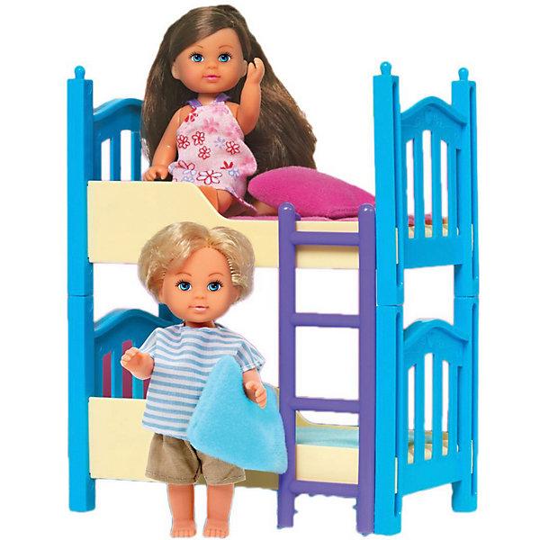 Simba Игровой набор с мини-куклами Simba Evi Love Еви с братиком и двухъярусной кроваткой, 12 см набор кукол simba еви 2 шт с кроваткой 5733847