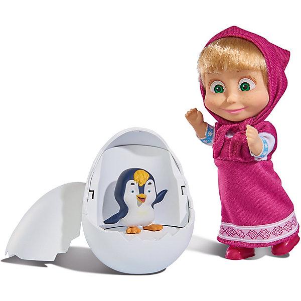 Simba Мини-кукла Simba Маша и Медведь Маша с пингвиненком в яйце, 12 см кукла simba маша в одежде художницы с набором для рисования 12 см