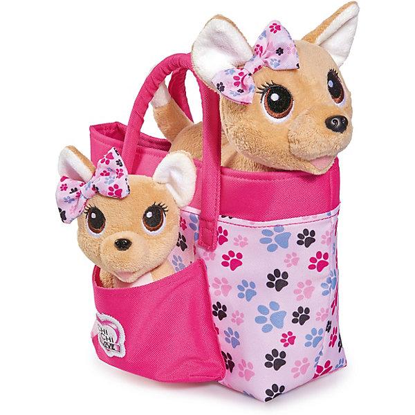 "Simba Плюшевые собачки Simba""Chi-Chi love"" Счастливая семья, 2 собачки в сумочке"