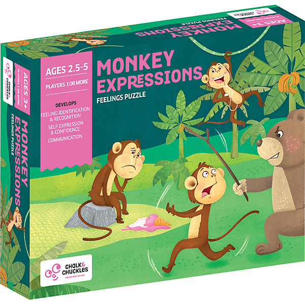"Chalk&Chuckles Настольная игра Chalk&Chuckles ""Эмоции обезьянки"" игра крокодилёнок чувства и эмоции 45 карточек"
