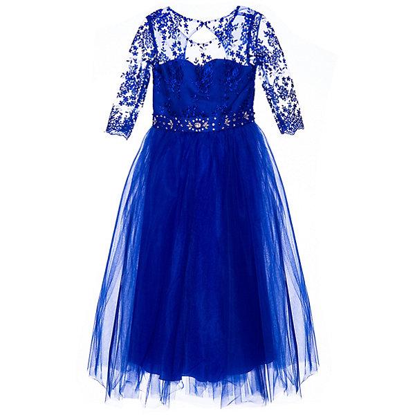 Нарядное платье ПрестижОдежда<br>Характеристики:<br><br>• состав ткани: 100% полиэстер<br>• сезон: круглый год<br>• застёжка на спинке<br>• особенности нарядное<br>• платье с рукавами 3/4<br>• страна бренда: Россия<br><br>Яркое красивое платье длинной до пола. Лиф сделан из двух видов ткани. Верхний слой и рукава сделаны из прозрачной ткани и декорированы ажурным узором в виде цветочков. Юбка многослойная и пышная. Округлый вырез горловины и поясок усыпаны стразами.