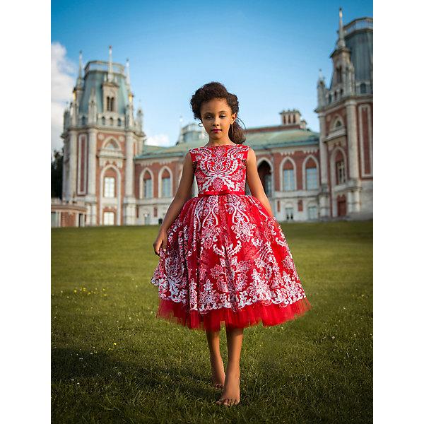 Нарядное платье ПрестижНарядные платья<br>Характеристики:<br><br>• состав ткани: 100% полиэстер<br>• сезон: круглый год<br>• застёжка на спинке<br>• особенности: нарядное<br>• платье без рукавов<br>• страна бренда: Россия<br><br>Красивое красное платье имеет аккуратный треугольный вырез сзади, открывая спинку. Линия талии подчёркнута декоративным пояском с бантиком. Пышная юбка имеет длину чуть ниже колена, покрыта сетчатым материалом. Изделие декорировано блестящим узором по всей поверхности.