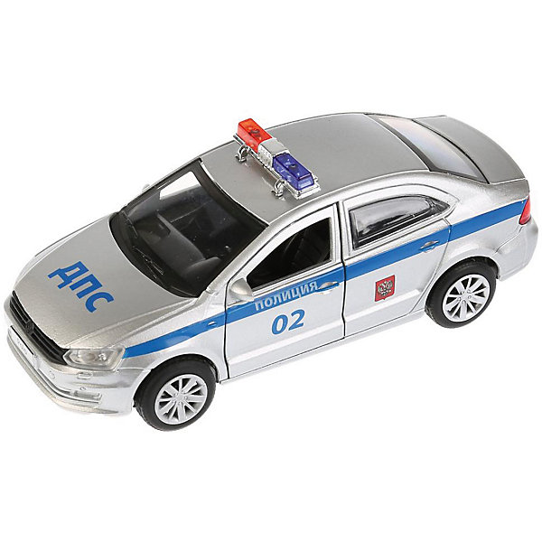 Фото - ТЕХНОПАРК Машинка Технопарк Volkswagen Polo Полиция, 12 см технопарк машинка технопарк урал 5557 полиция 12 см