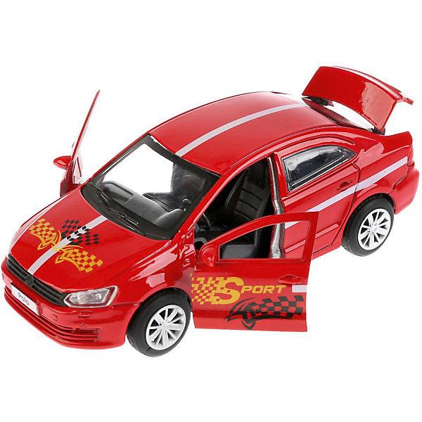 Машинка Технопарк Volkswagen Polo Спорт, 12 смМашинки<br>Характеристики:<br><br>• возраст: от 3 лет<br>• материал: пластик, металл<br>• в наборе: машинка<br>• длина машинки: 12 см<br>• особенности: инерционный механизм<br>• вес упаковки: 181 г<br>• размер упаковки: 18х13х7 см<br>• страна бренда: Россия<br><br>Машина Технопарк «VW Polo Спорт» выполнена по лицензии в полном соответствии с оригиналом. Металлический кузов окрашен стойкими красками в красный цвет. Передние двери и багажник открываются, внутри проработанный салон. Машинка приходит в движение от инерции – нужно немного прижать ее к ровной поверхности и оттянуть назад.