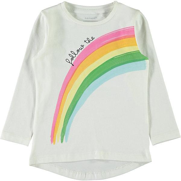 name it Футболка с длинным рукавом Name it для девочки комплект одежды для девочки name it футболка юбка цвет белый мятный 13154814 bright white sunny day размер 116