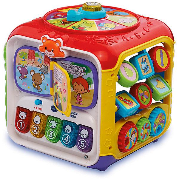 Интерактивный куб Vtech Играй и УчисьРазвивающие центры<br>Характеристики:<br><br>• возраст: от 6 месяцев<br>• материал: пластик<br>• особенности: 5 игровых граней куба, воспроизводит 75+ мелодий, песен, звуков и фраз, 5 клавиш пианино с подсветкой, сортер<br>• регулировка громкости: да<br>• вес упаковки: 1 кг<br>• размер упаковки: 33х18х36 см<br>• страна бренда: Китай<br><br>Интерактивный куб Vtech «Играй и учись» комплексно развивает малыша. Играя, он изучает цвета и формы, тренирует слух и мелкую моторику, учится считать, запоминает рифмы. Сделано из прочного безопасного пластика.