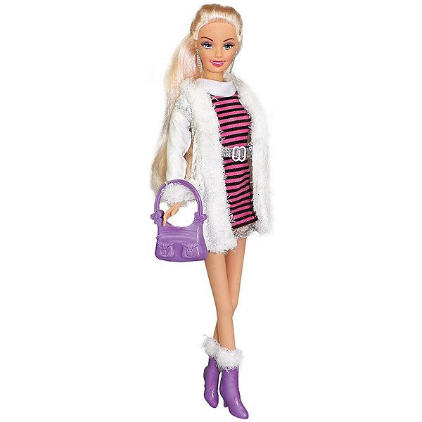 Купить Кукла Toys Lab Городской стиль Ася блондинка в полосатом платье и белой шубке, 28 см, Китай, разноцветный, Женский