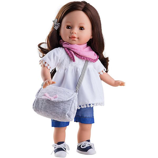 Кукла Paola Reina Вирджи, 36 смКуклы<br>Характеристики товара:<br><br>• материал: винил, текстиль, пластик, нейлон<br>• высота куклы: 36 см<br>• особенности: ароматизированная<br>• руки, ноги и голова подвижны<br>• глазки не закрываются<br>• упаковка: картонная коробка<br>• вес в упаковке: 650 гр<br>• размер упаковки: 20х11х41 см<br>• бренд: Paola Reina<br>• страна бренда: Испания<br><br>Кукла Вирджи одета в белую блузку и джинсовые шортики, обулась в кроссовки, а на шею повязала розовый платочек. С собой она взяла серую сумочку. Выполнена из винила, а тело мягконабивное из текстиля. Конечности подвижны, а волосы можно расчёсывать. Красивые глазки обрамлены длинными ресницами, лицо качественно и детально прорисовано.