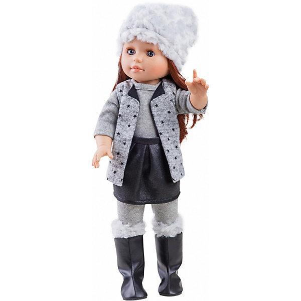 Кукла Paola Reina Я как ты Бекка, 42 смКлассические куклы<br>Характеристики товара:<br><br>• материал: винил, текстиль, пластик, нейлон<br>• высота куклы: 42 см<br>• особенности: ароматизированная<br>• руки, ноги и голова подвижны<br>• глазки не закрываются<br>• упаковка: картонная коробка<br>• вес в упаковке: 1,02 кг<br>• размер упаковки: 22х12х50 см<br>• бренд: Paola Reina<br>• страна бренда: Испания<br><br>Кукла оделась в модный наряд, серое белье, чёрная юбочка и серый жилетик, украшенный звёздочками. На ногах чёрные высокие сапожки, а на голову надета белая пушистая шапка. Конечности подвижны, для придания различных поз. Длинные мягкие волосы можно расчёсывать, реснички длинные и пушистые, лицо отлично прорисовано. Выполнена полностью из винила и имеет приятный аромат ванили.