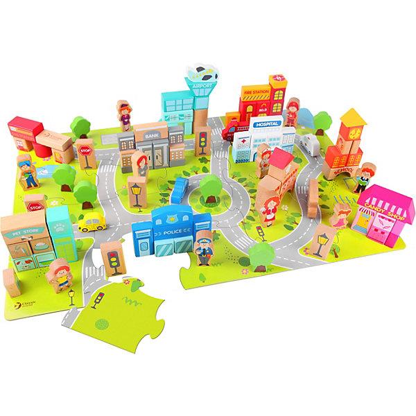Classic World Деревянный конструктор для малышей Построй город, 120 деталей