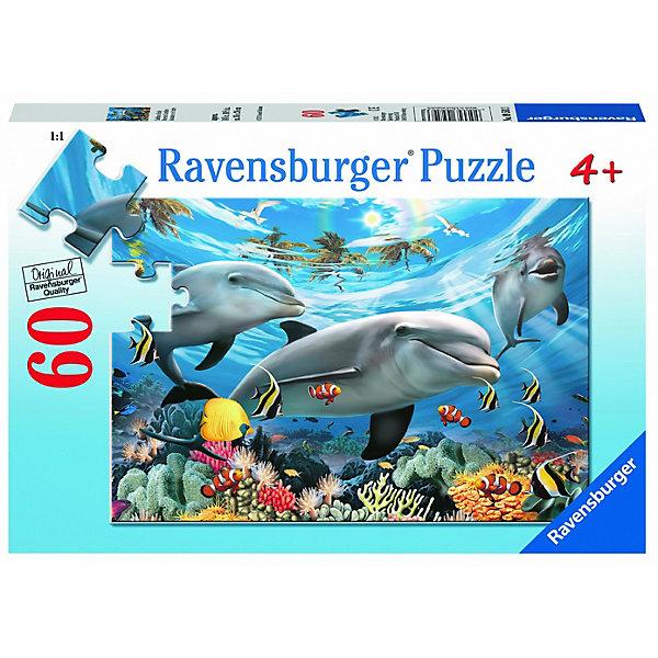 Ravensburger Пазл Ravensburger Дельфины в океане, 60 элементов пазл 3 в 1 147 элементов ravensburger первобытные хищники 09358