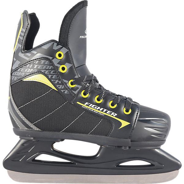 Tech Team Раздвижные хоккейные коньки Tech Team Fighter, чёрно-салатовые коньки ледовые для девочки ice blade solar раздвижные цвет розовый желтый белый размер l 38 41