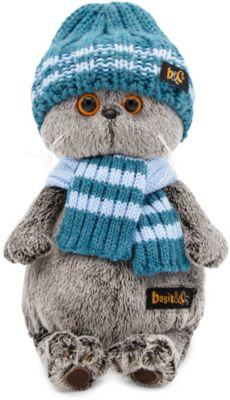 Мягкая игрушка Budi Basa Кот Басик в голубой вязаной шапке и шарфе, 22 см, артикул:10200549 - Мягкие игрушки
