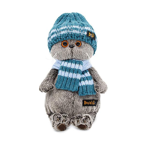 Budi Basa Мягкая игрушка   Кот Басик в голубой вязаной шапке  шарфе, 22 см