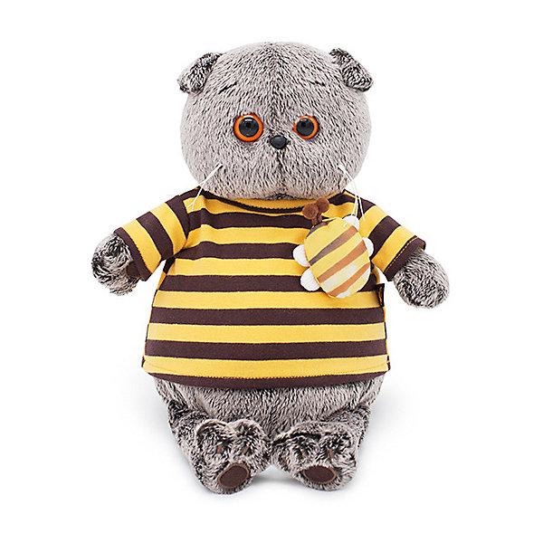 Budi Basa Мягкая игрушка Budi Basa Кот Басик в полосатой футболке с пчелой, 19 см цена