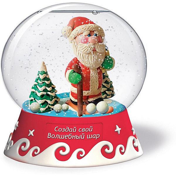 Набор для творчества Magic Moments Создай Волшебный шар Дед МорозНаборы для декора<br>Характеристики товара:<br><br>• материал: пластик, пластилин, картон, безопасные ингредиенты <br>• в комплекте: основа для шара, фигурная подставка для сувенира, пластилин, доска для лепки, подставка для композиции, специальная жидкость, два вида блёсток, инструкция<br>• упаковка: картонная коробка<br>• вес в упаковке: 485 гр<br>• размер упаковки: 21х21х16<br>• бренд: Magic Moments<br><br>Набор для создания красивого шара с эффектом падающего снега, который украсит любой интерьер. Чтобы создать украшение нужно слепить фигурки, в инструкции два варианта, или можно придумать и создать свою собственную композицию. Когда фигурка готова её нужно поместить в шар, а потом добавить блёстки и жидкость, после этого шар помещается на подставку, которую нужно предварительно раскрасить (краски в комплект не входят), а ещё на подставке есть место, куда можно написать название сувенира. Волшебный шар готов.