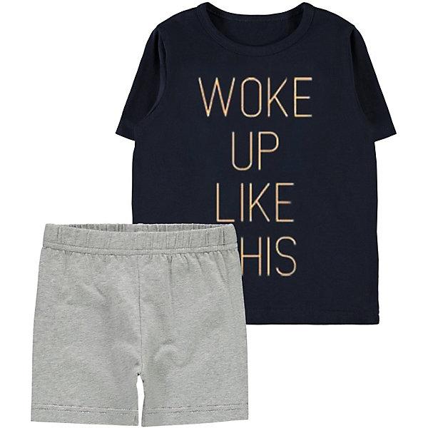 Пижама Name ItПижамы и сорочки<br>Характеристики товара:<br><br>• состав ткани: 95% хлопок, 5% эластан<br>• сезон: круглый год<br>• в комплекте: футболка, шорты<br>• страна бренда: Дания<br><br>Футболка декорирована шрифтовым принтом и дополнена мягкой окантовкой на горловине, которая не натирает. Шорты на эластичной резинке обеспечиваются комфортную посадку и не сдавливают живот. Пижама обладает дышащими свойствами и приятная на ощупь.