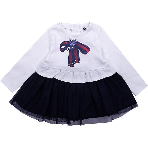 Платье Original Marines для девочкиПлатья и сарафаны<br>Характеристики:<br><br>• состав ткани: 100% хлопок/100% полиэстер<br>• сезон: демисезон<br>• застёжка: молния<br>• особенности: трикотажное, нарядное<br>• платье с длинным рукавом<br>• декорировано принтом<br>• страна бренда: Италия<br><br>Платье застёгивается на молнию на спинке, облегчая надевания. Материал мягкий и не сковывает движений. Декорировано принтом в виде бантика спереди. Мягкая горловина не натирает. От пояса вниз идёт контрастная юбочка в небольшую складку с сетчатым верхом.