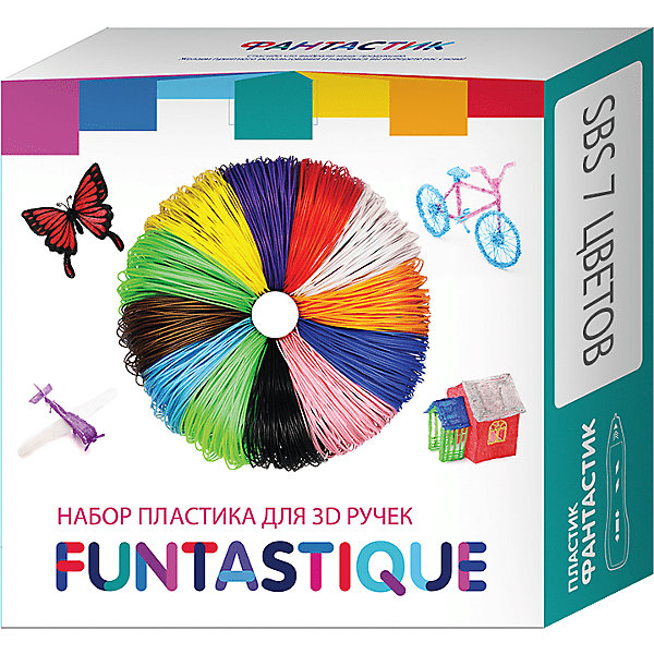 Купить Комплект Pro/SBS-пластика Funtastique для 3д ручек, 7 цветов, Китай, разноцветный, Унисекс