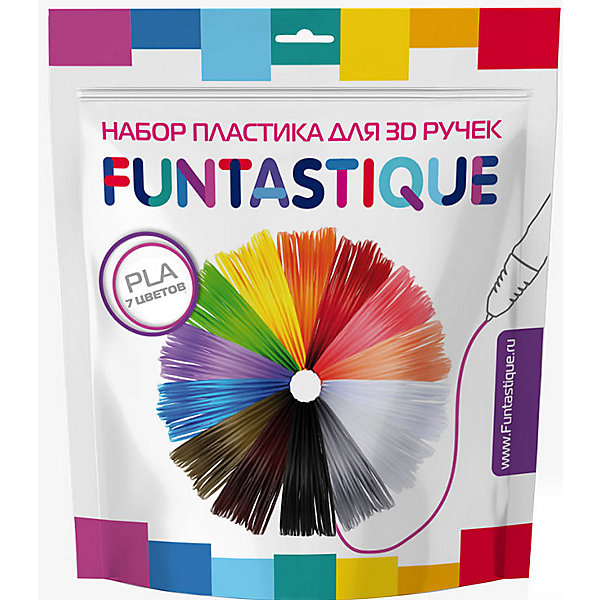 FUNtastique Комплект PLA-пластика Funtastique для 3д ручек, 7 цветов набор пластика cactus pla для 3d ручек 12 цветов по 10 метров