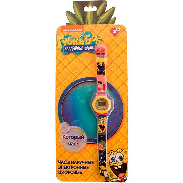 Электронные наручные часы Nickelodeon SpongeBob Square Pants (Губка Боб Квадратные Штаны)Детские часы<br>Характеристики товара:<br><br>• материал: пластик<br>• в комплекте: часы, инструкция<br>• дисплей: электронный<br>• 1 батарейка (LR41 (AG3)<br>• напряжение: 1.5 V<br><br>Электронные наручные часы помогут ребенку ориентироваться во временном интервале. Циферблат защищен от повреждений прочным пластиковым стеклом. Яркий дизайн и рисунки любимых героев, которыми оформлен ремешок, сделают эту вещь незаменимой.
