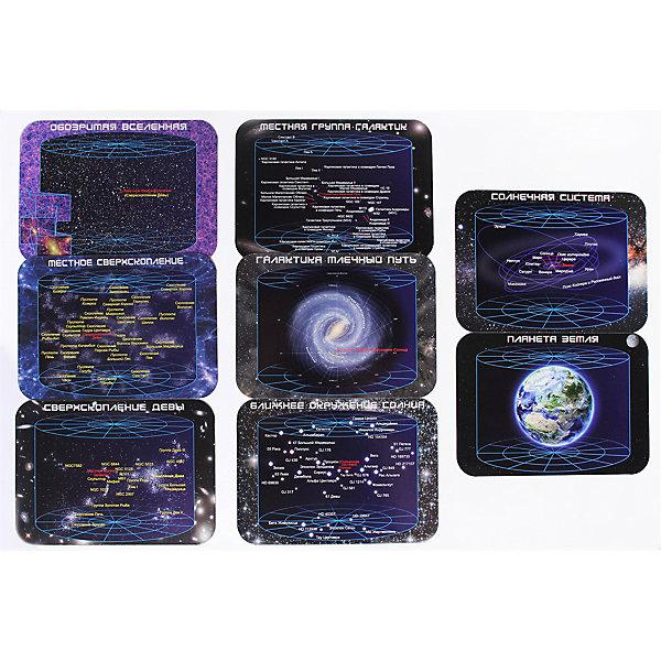 Магнитный пазл Геомагнит Масштабы вселеннойПазлы для малышей<br>Характеристики:<br><br>• материал: магнитный винил<br>• количество деталей: 8<br>• размер в собранном виде: 28,2х40,8х0,15 см<br>• габариты упаковки: 32,5х21,1х2,5 см<br>• вес: 300 г<br><br>Большой пазл с изображением вселенной. На карточках послойно изображена структура космического пространства. Можно подробно рассмотреть и изучить объекты Солнечной системы и галактики Млечный Путь. Магниты можно размещать на плоскости или металлической поверхности. Набор подходит для изучения основ астрономии и космологии.