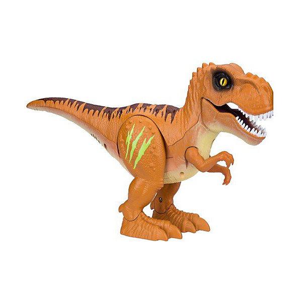 Робот на ИК управлении 1toy RoboAlive Робо-тираннозавр RoboAlive, оранжевыйИнтерактивные животные<br>Характеристики товара:<br><br>• материал: пластик<br>• в комплекте: тираннозавр, пульт управления<br>• тип батареек: 2хААА<br>• наличие батареек: не входят в комплект<br>• упаковка: картонная коробка<br>• вес в упаковке: 608 гр<br>• размер упаковки: 35,5х90х19,5 см<br><br>Тираннозавр выглядит очень реалистично, у него устрашающий вид, злые глаза и страшные зубы. Он может двигаться, открывать и закрывать пасть и даже рычать. А боевые шрамы на ноге светятся в темноте. Изготовлен из качественных и безопасных материалов.