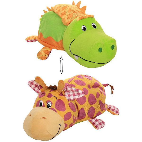 1Toy Мягкая игрушка-вывернушка 1toy Ням-Ням Крокодильчик с ароматом яблочного пирожка-Жираф с ароматом Арахисовой цена