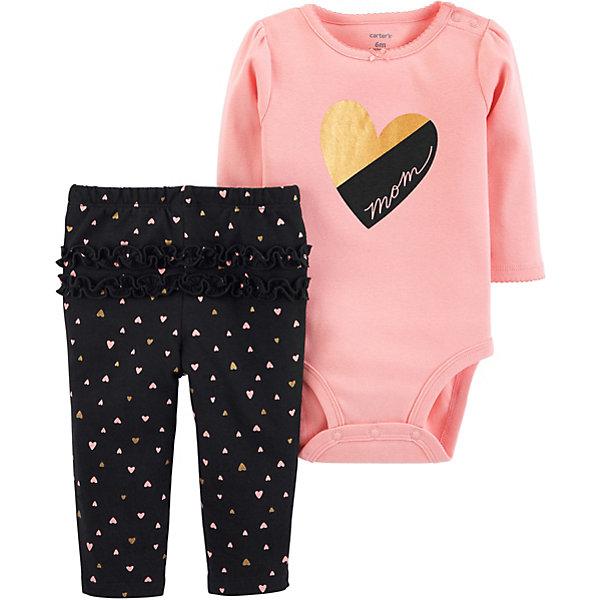 Купить Комплект: Боди и брюки Carter's для девочки, Камбоджа, блекло-розовый, 78-83, 80/86, 72-78, 67-72, Женский