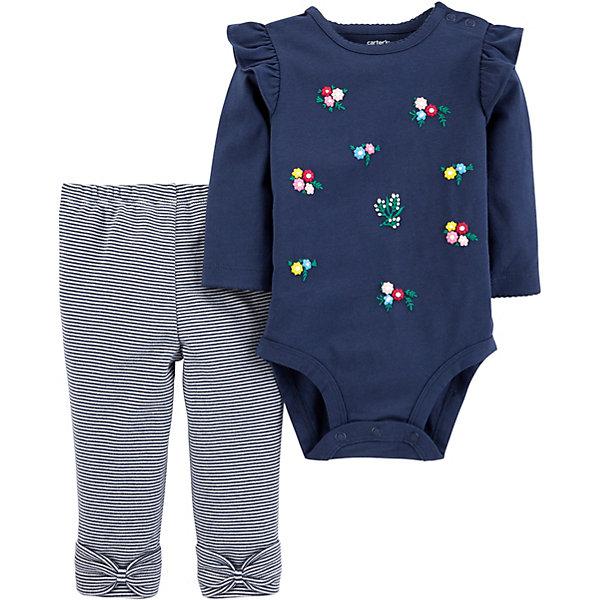 Купить Комплект: Боди и брюки Carter's для девочки, Камбоджа, темно-синий, 78-83, 72-78, 80/86, 67-72, Женский