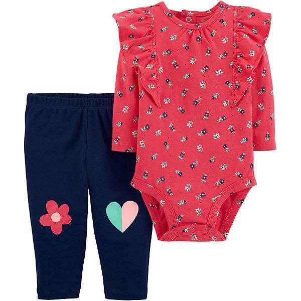 carter`s Комплект: Боди и брюки Carter's для девочки красное боди и митенки elza s m
