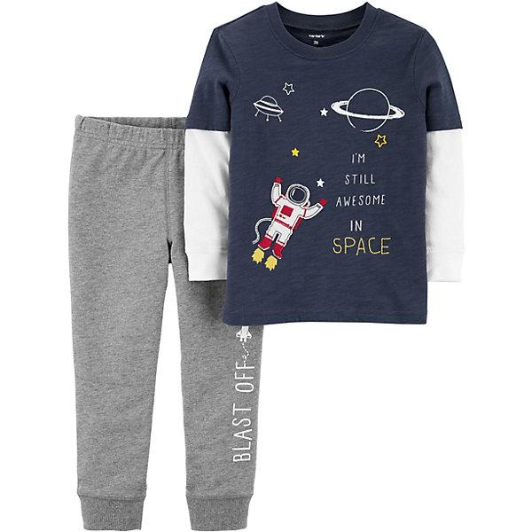 Комплект для новорожденного CartersКомплекты<br>Характеристики:<br><br>• состав ткани: 100% хлопок<br>• сезон: круглый год<br>• застёжка: без застёжки<br>• в комплекте: лонгслив, брюки<br>• декорирован принтом<br>• страна бренда: США<br><br>Комплект выполнен в спортивном стиле, из мягкой и натуральной ткани.  Лонгслив с имитацией двухслойности создаёт впечатление надетой поверх кофты футболки. Декорирован космическим принтом. Серые брюки с эластичными манжетами по низу и резинкой на талии, которая не давит.
