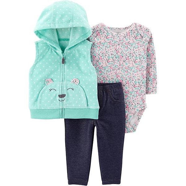 - Комплект: Жилет, боди и брюки Carter's для девочки брюки джинсы и штанишки s'cool брюки для девочки hip hop 174059
