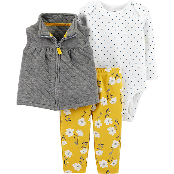 carter`s Комплект: Жилет, боди и брюки Carter's для девочки красное боди emma xxl 3xl