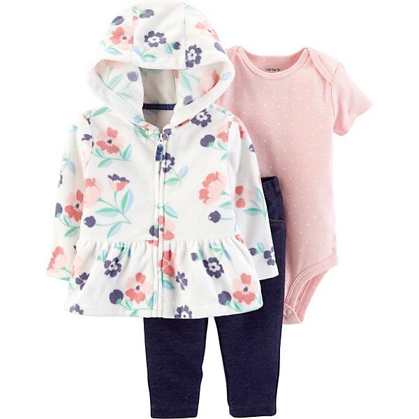 carter`s Комплект: Кардиган, боди и брюки Carter's для девочки roxana боди черное в мелкий горошек цветочная аппликация