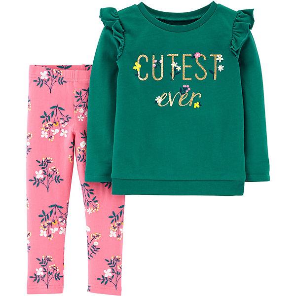 carter`s Комплект: Футболка с длинным рукавом и брюки Carter's для девочки carter s комплект футболка с длинным рукавом боди и брюки carter s для девочки