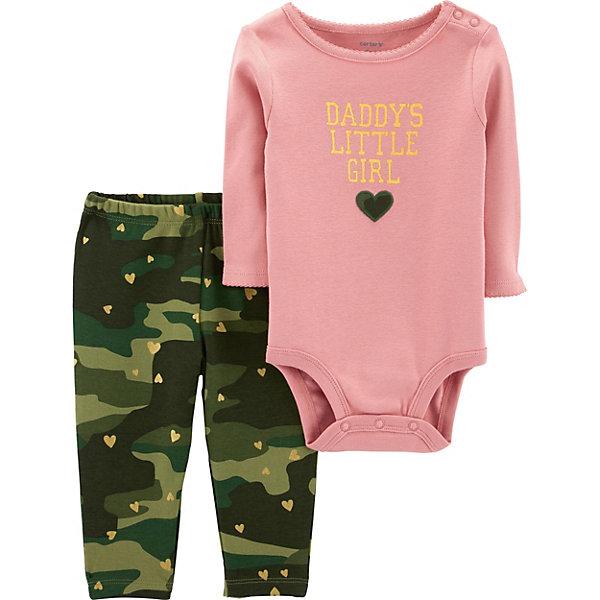 Купить Комплект: Боди и брюки Carter's для девочки, Камбоджа, блекло-розовый, 67-72, 78-83, 80/86, 72-78, Женский