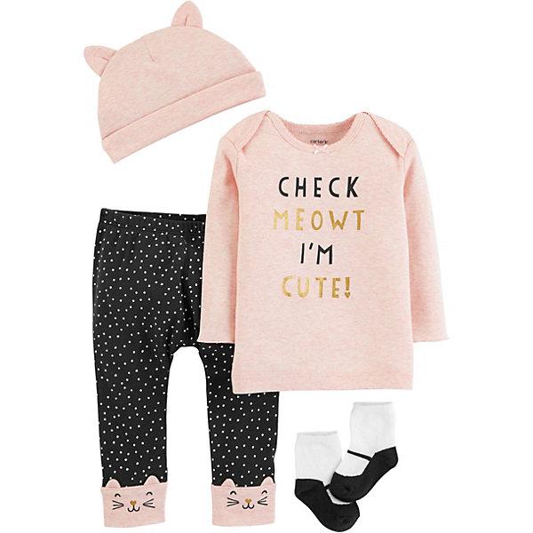 carter`s Копмлект: Футболка с динным рукавом, брюки, шапочка и носки Carter's для девочки