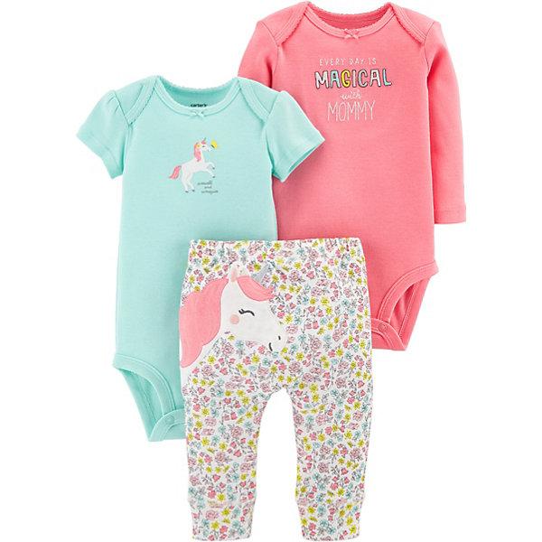 Комплект: Боди 2 шт. и брюки Carter's для девочки Carter`s