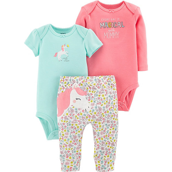 carter`s Комплект: Боди 2 шт. и брюки Carter's для девочки боди и песочники kiddy bird боди короткий рукав винтаж 2 шт