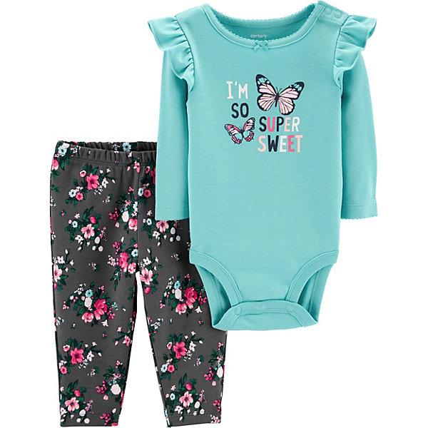 Купить Комплект: Боди и брюки Carter's для девочки, Камбоджа, бирюзовый, 78-83, 67-72, 80/86, 72-78, Женский