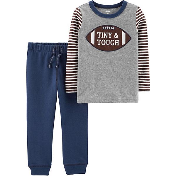 Комплект для новорожденного CartersКомплекты<br>Характеристики:<br><br>• состав ткани: 100% хлопок<br>• сезон: кргулый год<br>• застёжка: без застёжки<br>• в комплекте: футболка с длинным рукавом, брюки<br>• декорирован принтом<br>• страна бренда: США<br><br>Комплект выполнен в спортивной стиле, не сковывает движений и позволяет телу дышать. Футболка с контрастными рукавами в полоску и кантом на горловине. Декорирована принтом в виде мяча с надписью. Брюки имеют мягкую эластичную резинку на талии и на манжетах. Дополнены шнурками-завязками.