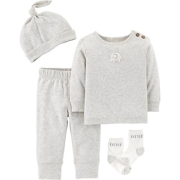 Комплект для новорожденного CartersКомплекты<br>Характеристики:<br><br>• состав ткани: 100% хлопок/носки 73% хлопок, 25% полиэстер, 2% эластан<br>• сезон: кргулый год<br>• застёжка: пуговицы<br>• в комплекте: футболка с длинным рукавом, брюки, шапочка, носочки<br>• декорированы принтом<br>• страна бренда: США<br><br>Комплект выполнен в серо-белом цвете. Футболка декорирована принтом в виде слоника и застёгивается на пуговицы на плече. Штанишки с манжетами и талией на эластичной резинке, которая не будет давить на живот. Шапочка с отворотом и гулькой на макушке. Носочки из эластичной ткани, с мягкой окантовкой по верху изделия. Украшены надписью, пяточки и мыски контрастного цвета.