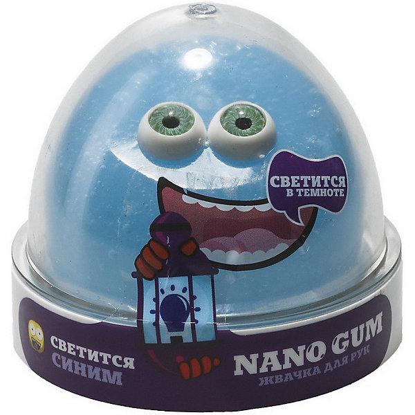 Slime Жвачка для рук Nano gum светится в темноте синим, 50 гр