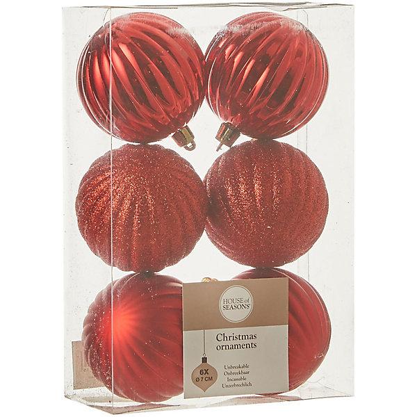 House of Seasons Набор ёлочных шаров House of Seasons 6 шт., красные н р шаров 6 см 3 шт золот