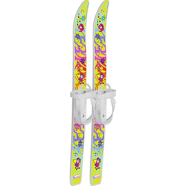 Лыжи детские Лыжики пыжики Чижики с палками, в сетке (75/75)Лыжи<br>Характеристики:<br><br>• материал: полипропилен, алюминий<br>• в наборе: лыжи с креплениями, палки<br>• размер обуви: 27-31<br>• длина лыж: 75 см<br>• толщина лыж: 5 мм<br>• ширина полоза в месте крепления: 17 мм<br>• длина палок: 75 см<br>• диаметр трубы: 12 мм<br>• особенности: газонаполненные лыжи, безопасные наконечники палок<br>• вес упаковки: 1,1 кг<br>• размер упаковки: 75х5х10 см<br>• страна бренда: Россия<br><br>Лыжи выдерживают температуру до -20 градусов, отлично скользят по снежной и ледяной поверхности. Крепление с двумя ремешками подходит под обычную обувь. Лыжи вылиты по технологии газонаполнения, отличаются прочностью и сбалансированной жесткостью. Палки оснащены удобными ручками и пластиковым наконечником. Комплект оформлен термопереводным принтом.