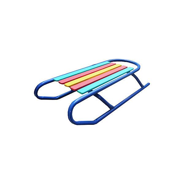 Санки Вятские сани Спортивные, синиеСанки<br>Характеристики:<br><br>• материал: несущая конструкция – металл; полозья – трубка Ф20 мм; сиденье – деревянные рейки<br>• размер упаковки: 80х39х20 см<br>• вес: 3,1 кг<br><br>Спортивные санки идеально подойдут для катания с горок, так как не имеют спинки. прочные металлические полозья помогут развить большую скорость.